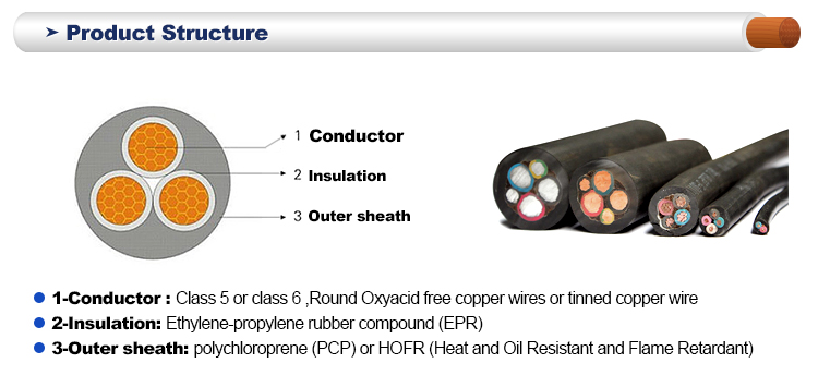 Round oxyacid free copper conductor High temprrature resistant H07RN-F flexible rubber cable